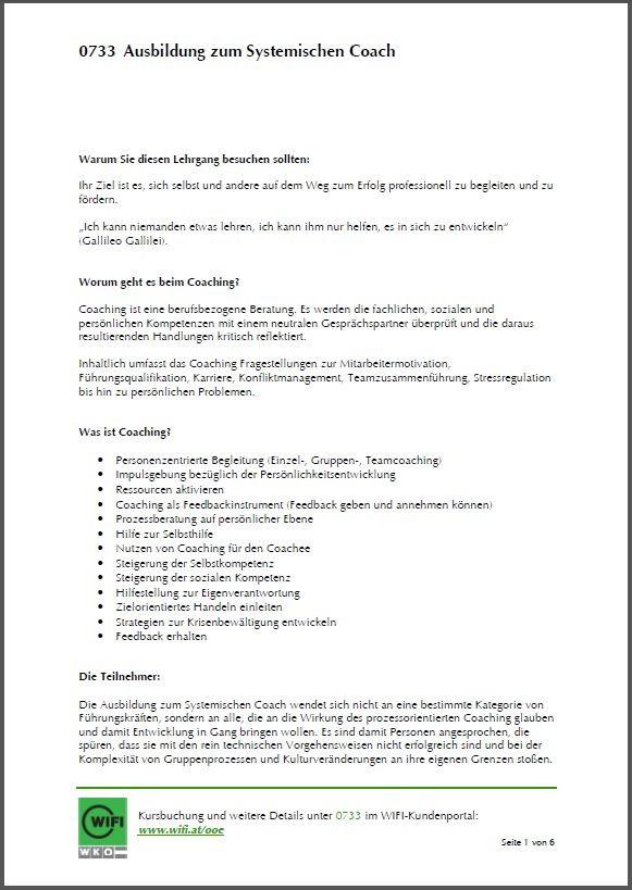 Lehrgangsinformationen Systemischer Coach